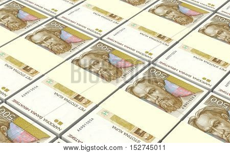 Croatian kuna bills stacks background. 3D illustration.
