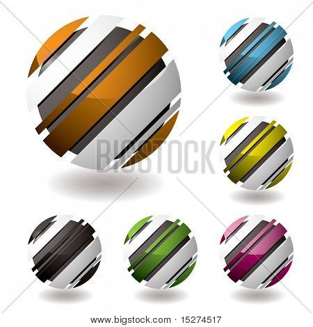 business 3d icons with shadown and six color variations