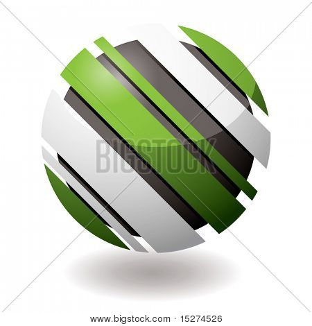 Green and white icon with slash elements at an angle with shadow