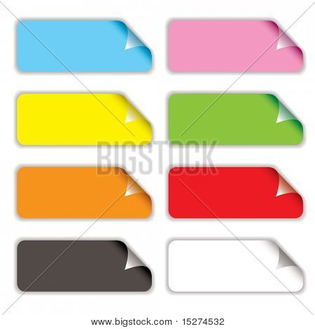 Collection of eight oblong stickers with page curl in different colors