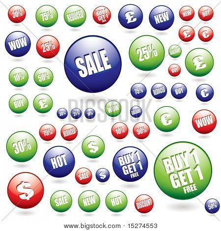 Collection of illustrated sale buttons ideal for the credit crunch