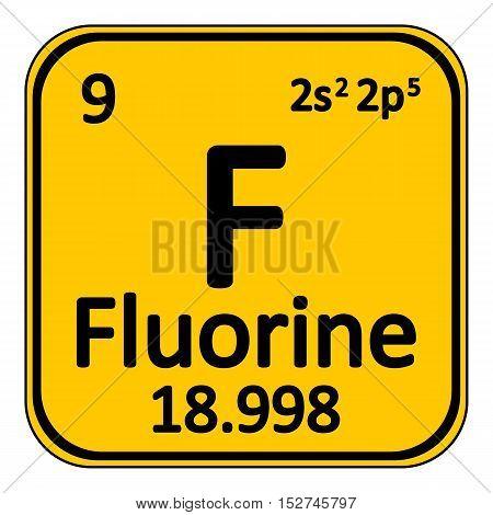 Periodic table element fluorine icon on white background. Vector illustration.