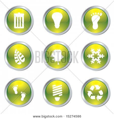 Ecology set of nine icons with silver bevel in green
