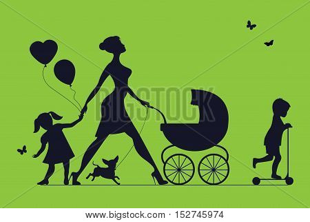 Woman with two children and dogs. Super mother walks with children. Vector silhouette