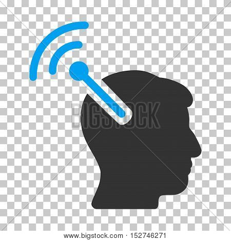 Blue And Gray Radio Neural Interface toolbar pictogram. Vector pictograph style is a flat bicolor symbol on chess transparent background.