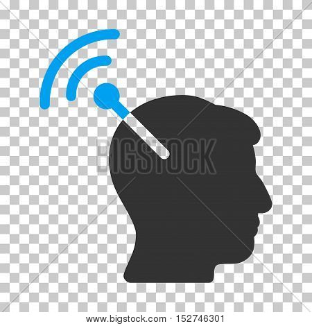 Blue And Gray Radio Neural Interface interface toolbar icon. Vector pictogram style is a flat bicolor symbol on chess transparent background.