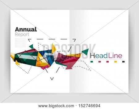 Unusual abstract corporate business brochure template. Vector triangle pattern
