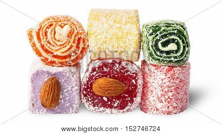 Stack of Turkish Delight isolated on white background