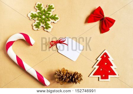 Christmas decorations and sale tag on wrapping paper