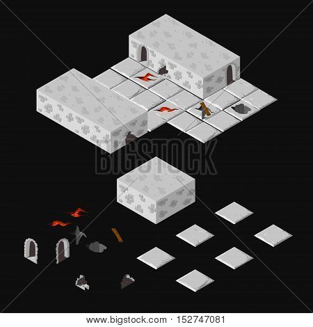 Vector isometric dungeon elements walls floors plates holes cracks doors coridors lava