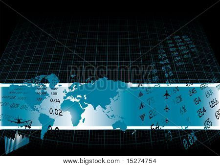 Black background with a financial theme and world map