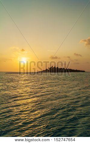 Romantic Orange Sunset With Tropical Island, Maldives