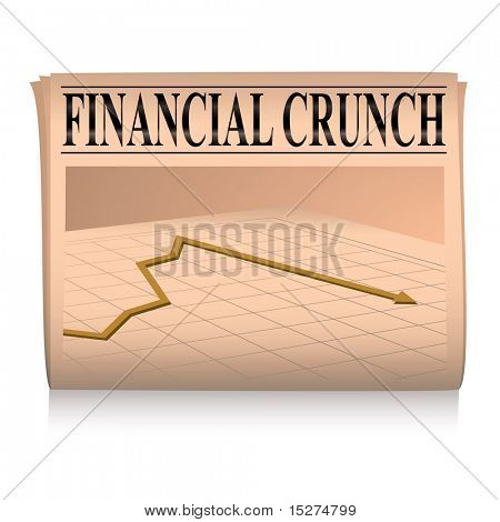 financial paper showing a graph of the credit crunch with sales down