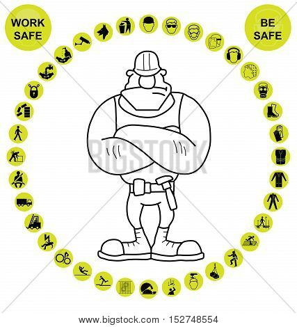 Yellow construction worker for manufacturing and engineering health and safety related circular icon collection isolated on white background with work safe message