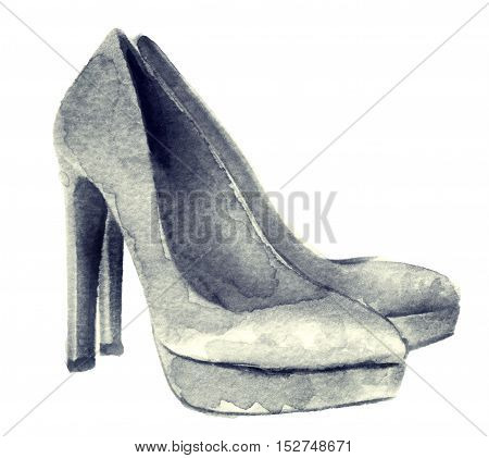 watercolor sketch of white shoes on white background