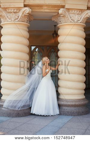 Bride with long veil standing near the column