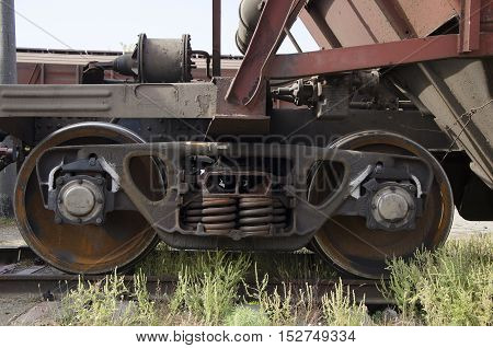 Old train wheels on rails closeup photo
