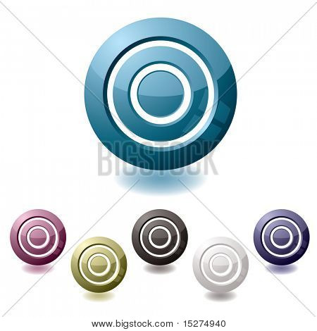 icon in various colours in the shape of a target with drop shadow