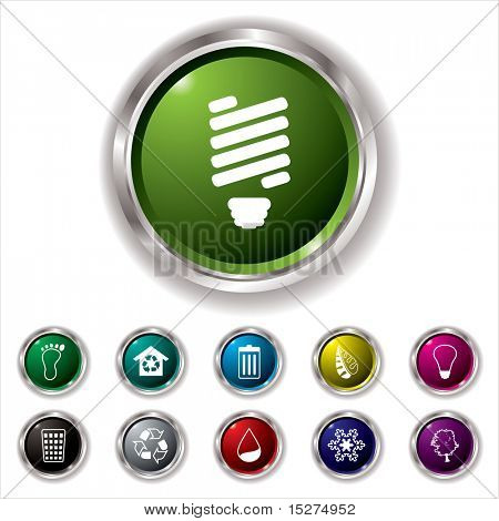 Collection of eleven environmental icons with silver bevel and shadow