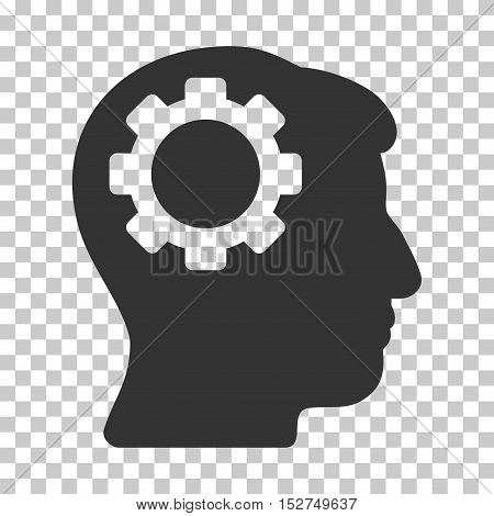 Gray Brain Gear toolbar icon. Vector pictogram style is a flat symbol on chess transparent background.