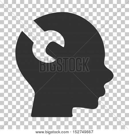 Gray Brain Wrench Tool interface toolbar pictogram. Vector pictograph style is a flat symbol on chess transparent background.