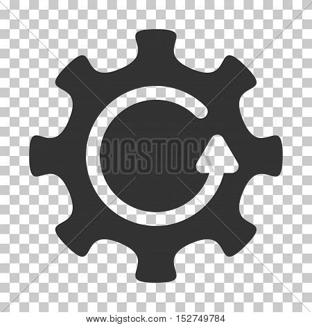 Gray Cog Rotation Direction toolbar pictogram. Vector pictogram style is a flat symbol on chess transparent background.