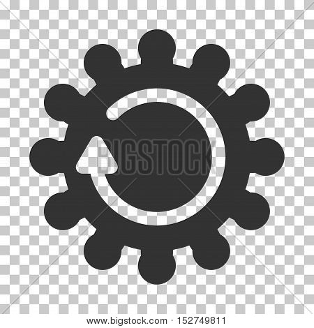 Gray Cog Rotation interface toolbar icon. Vector pictograph style is a flat symbol on chess transparent background.