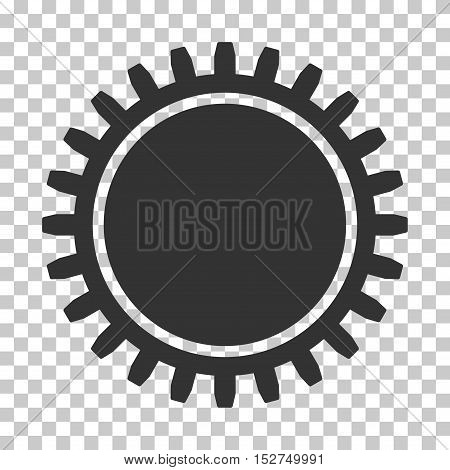 Gray Cogwheel toolbar icon. Vector pictograph style is a flat symbol on chess transparent background.