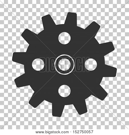 Gray Cogwheel toolbar icon. Vector pictogram style is a flat symbol on chess transparent background.