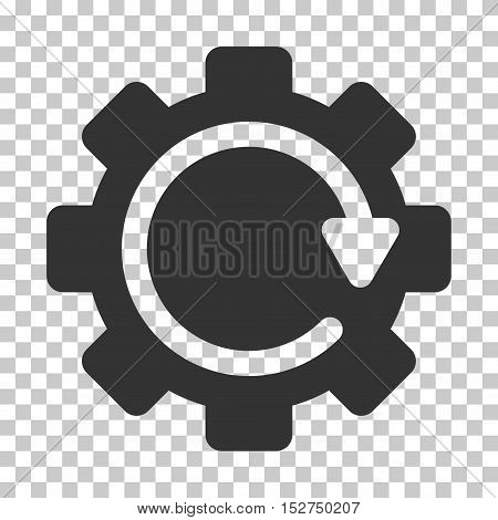 Gray Gear Rotation Direction interface toolbar pictogram. Vector pictogram style is a flat symbol on chess transparent background.