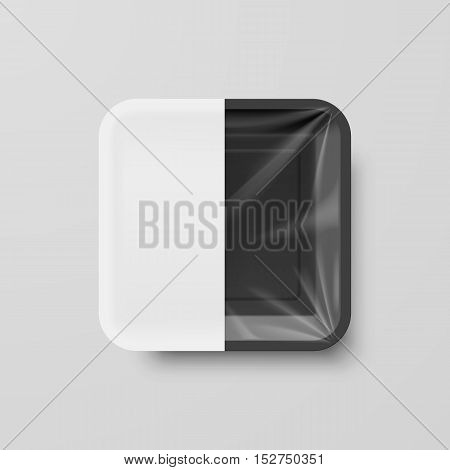 Empty Black Plastic Food Square Container with White label on Gray Background