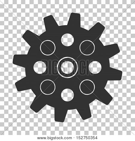 Gray Gearwheel interface toolbar icon. Vector pictogram style is a flat symbol on chess transparent background.