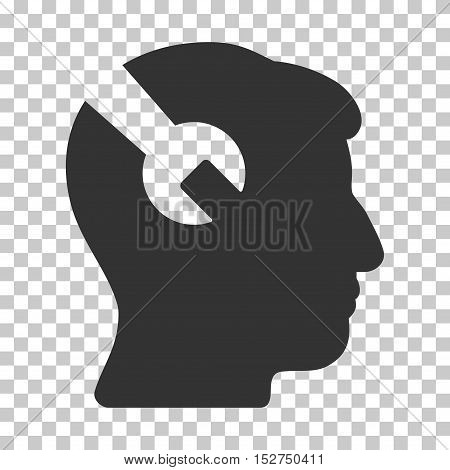 Gray Head Surgery Wrench interface pictogram. Vector pictogram style is a flat symbol on chess transparent background.