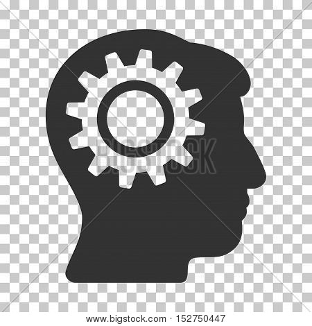 Gray Intellect Gear toolbar pictogram. Vector pictograph style is a flat symbol on chess transparent background.