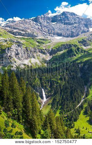 Waterfall In Klausen Pass, Switzerland
