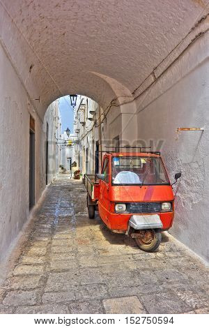 Image of an alleyway of Ostuni. Puglia. Italy.
