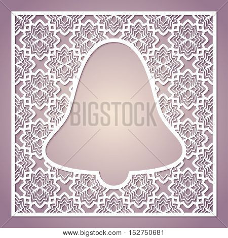 Openwork square frame with bell. Laser cutting template for greeting cards envelopes invitations interior decorative elements.