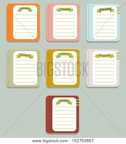 The sheets of the planner for weekly planning. Diary.Vector illustration.