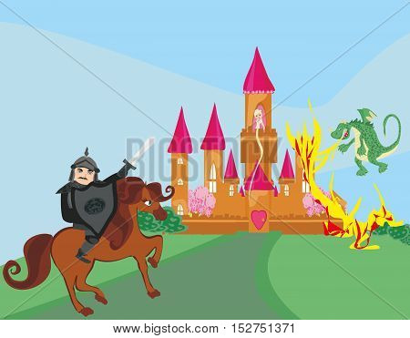 dragon attacks the castle with princess,  , vector illustration