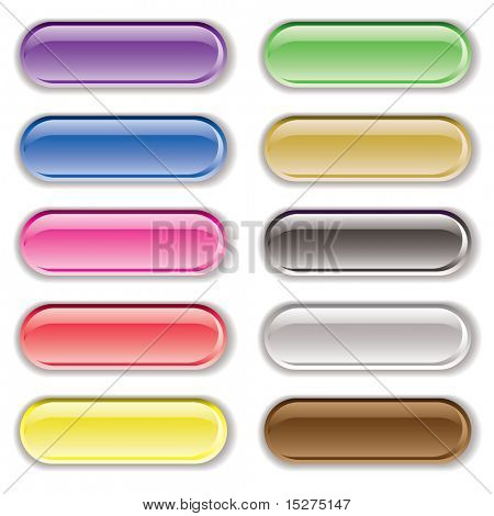 Ten gel filled lozenge brightly colored icons with shadows