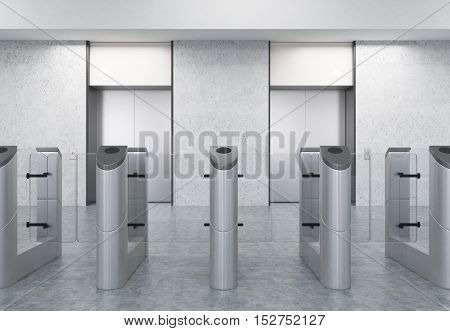 Entrance to office with stainless steel turnstiles and two elevators. Concept of security. 3d rendering. Mockup.