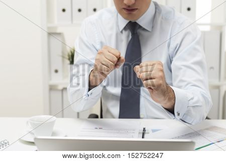 Man With Clenched Fingers