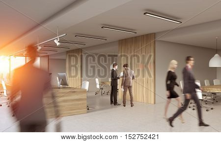 Rear view of people standing and going in modern office decorated with wood. Concept of large corporation. 3d rendering. Mock up. Toned image