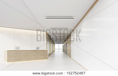 Reception Desk In Long Corridor