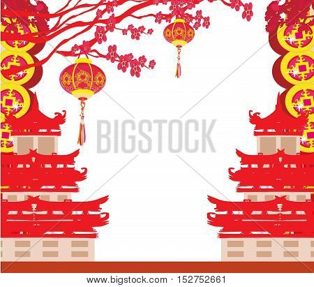 Oriental Happy Chinese New Year card , vector illustration