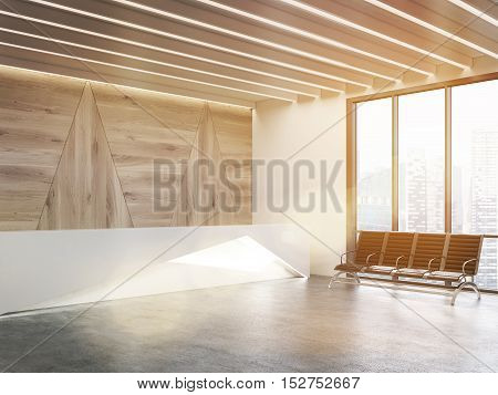 Sunlit reception desk with shining elements standing near chairs in waiting area of office with panoramic windows. Concept of waiting with comfort. 3d rendering. Mock up.