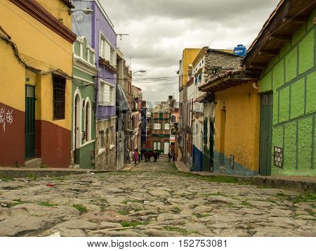 Bogota Colombia - May 01 2016: Colourful paintings on the walls of Bogota