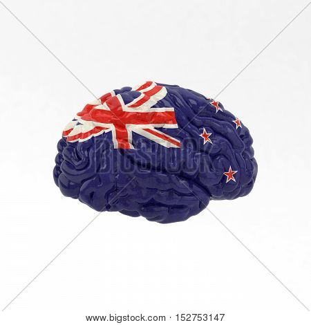 New Zealand. Flag on Human brain. 3D illustration.