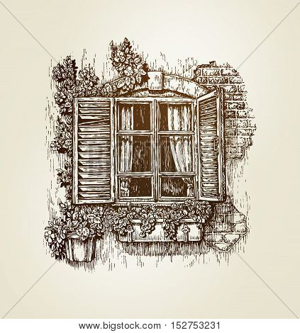 Vintage window sketch. Vector illustration. Italian landscape