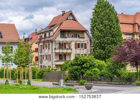 A perfect neighborhood. Houses in suburb at Spring in the Zurich, Switzerland.